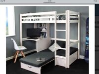 Stompa High Sleeper Bed With Futon And Desk