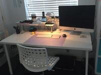 Large white glossy desk from Ikea - like new