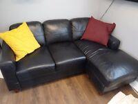"Black Leather Corner ""L"" shape sofa from NEXT."