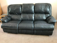 Black 3 seater leather reclining sofa and 2 recliner chairs