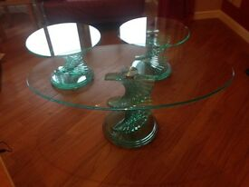 Glass Coffee table & 2 Matching Side/Lamp Tables