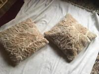 2 cushions small fur beige size 46-46cm good condition £4 now offer £2