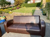 2 x Faux brown leather settee with white stitching
