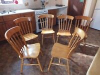 6 pine dining room or kitchen chairs