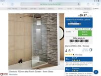 Shower screen 8mm thick x 700mm wide 1850mm tall