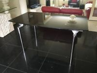 Dining Table Black Glass with Chrome Legs
