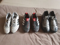 3 PAIRS FOOTBALL BOOTS FOR SALE ADIDAS PREDATOR, ADIDAS ADI QUESTRA AND NIKE TOTAL 90
