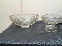 A PAIR OF GLASS BOWLS