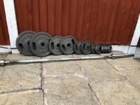 Double Grip Olympic Weights & Barbell Set. •Can Deliver•