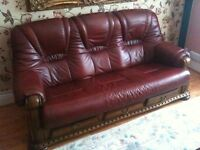 3 seater oak leather sofa and 2 leather armchairs