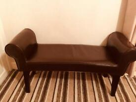 Bedroom seat brown faux leather