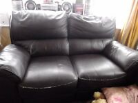 FREE leather 3 seater and 2 seater reclining sofas