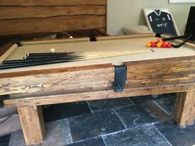 Pool Table, slate base, with balls and cues