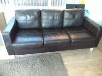 2 brown 3 seater sofas