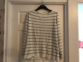 Mint Velvet stripe button sleeve jumper