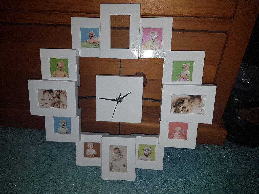 Wall Clock With Small Individual Photo Frames In Higham Ferrers