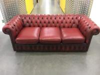 Ox blood Chesterfield sofa •free delivery