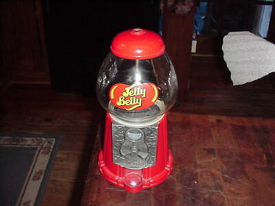 """JELLY BELLY 11 1/4"""" Tall Jelly Bean Candy Dispenser Red Metal Gumball Machine  - Jelly Bean Dispenser"""