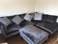 Charcoal grey corner sofa and matching foot stall