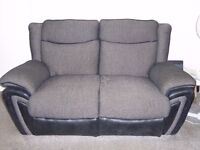 2 x 2 seater sofas with integral storage and music docking station + pouffe + display cabinet