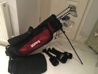 Full set of Hippo golf clubs with bag and covers