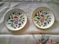 Pair of Minton Haddon Hall Bone China Coasters, Collectable, Gold Rim, Decorative