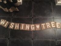 Wishing Tree Hessian Wedding Banner