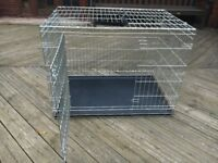 Large Savic Dog Crate, folds flat. Good condition: 107cm/72cm/80cm