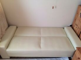 Nice clean 3 seats leather Sofa bed