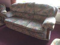Three piece living room suite plus matching footstool