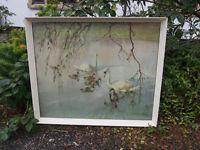 Vintage Vernon Ward Large Print of Swans on Lake Framed & Glazed Shabby Chic/Retro