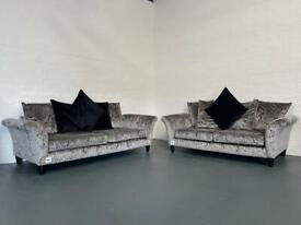 Absolutely Gorgeous silver & black dfs sofas 3&2 delivery 🚚 sofa suite couch furniture