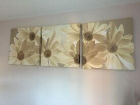 Neutral daisy canvas