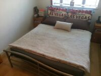 Standard UK double metal bed with headboard and mattress for lovely bedroom