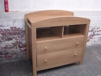 Changing table unit with two drawers.