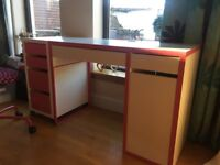 Ikea Desk & Drawers (White & Pink)