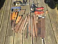 Assorted Chisels, Files, Surforms and Clamps and Handles
