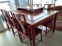Dining table and 6 chairs, with extension part. 160cm by 110cm, real wood