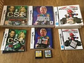Nintendo ds games super Mario bros, kart, telly addicts, csi & build a bear