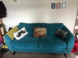 3 seater teal blue retro sofa (from DFS)