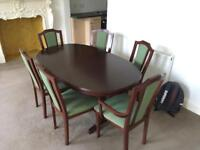 Large Mahogany Dining Table With Six Chairs