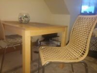 Table and 4 rattan chairs
