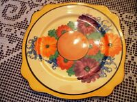 clarice cliff Gay Day pattern plate Art deco hand painted