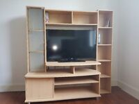 TV Storage / Entertainment Unit / Cabinet - Beech Effect - Good as new - REDUCED FOR QUICK SALE