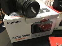 Canon 500d with lens, battery grip and GlideCam HD-1000