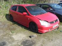 BREAKING 3 HONDA CIVIC TYPE R CAR EXC K20 ENGINE ALL PARTS CAN POST