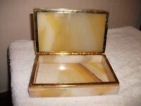 Onyx Cigarette Box, Ashtray and Table Lighter