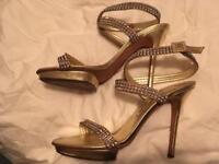 Gold and diamanté Gina shoes, size 6