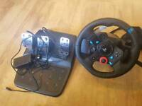 Logitech G29 Driveforce steering wheel and pedals