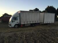 Isuzu NKR77L 3.5t curtainsider + trailer for sale, 12 months MoT.